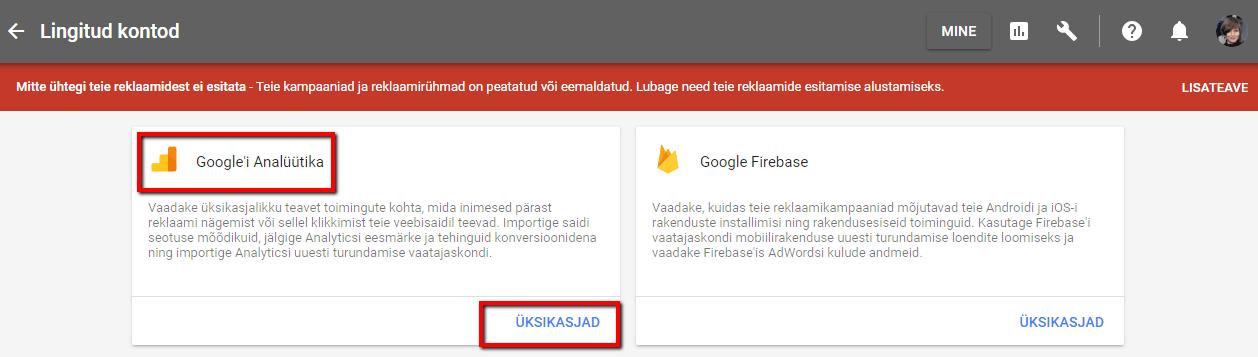 Sidumine Google Analyticsiga