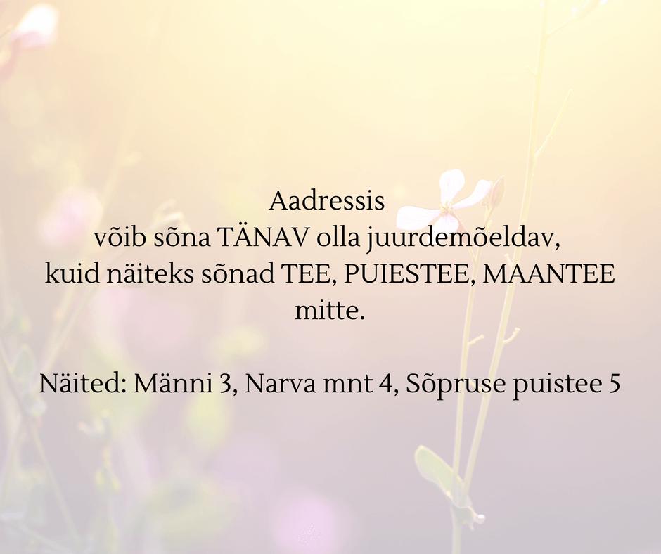 aadressi kirjapilt