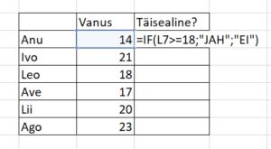 Exceli funktsioonid IF funktsioon
