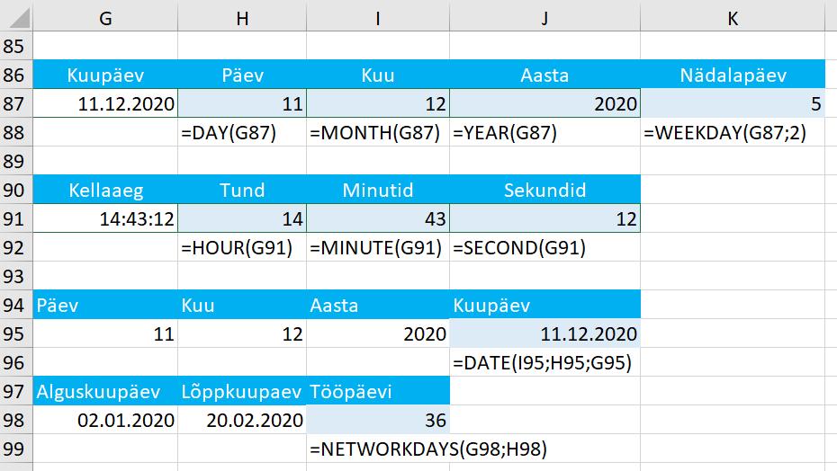 kuupäeva funktsioonid ja ajafunktsioonid