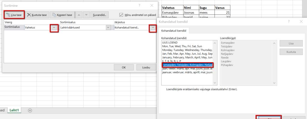 Exceli kasutamine
