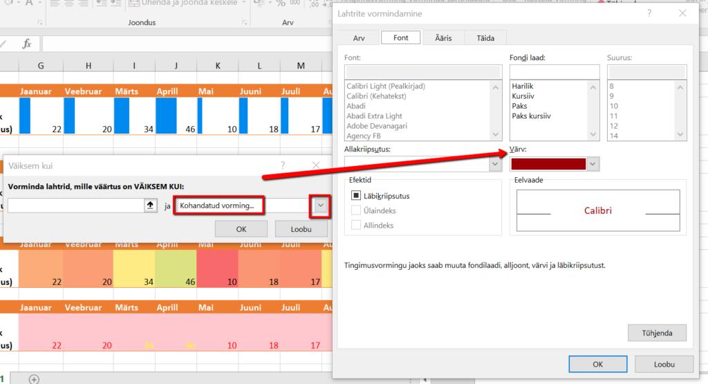 Exceli kasutamine lahtrite vormindamine