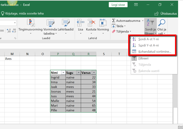 Exceli kasutamine sorteerimiseks