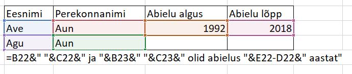 Exceli valemid teksti liitmiseks
